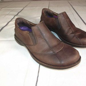 Merrell Brown Leather Slip On Ortholite Shoes 7